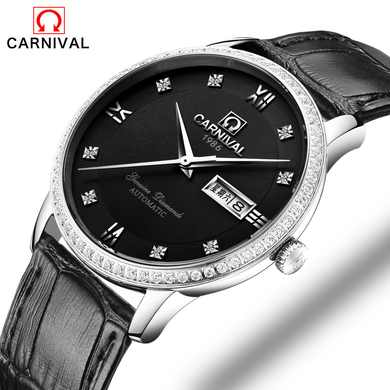 Carnival Luxury Brand Men Watches Diamond Vintage Automatic Mechanical Watch Calendar clock Military WristWatches leather Strap blue indian luxury headpieces king queen unisex cosplay costumes diamond feather headdress for women and men peagents carnival