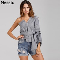 Messic Women Classy V Neck Tops Casual Blouses Inclined Shoulder Stripe Shirts 2018 New Stylish Half