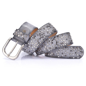 Image 4 - New Fashion womens Rivet belts Punk rock style belt For lady PU + Genuine leather Sequins Metal buckle Wide Metal rivet bead