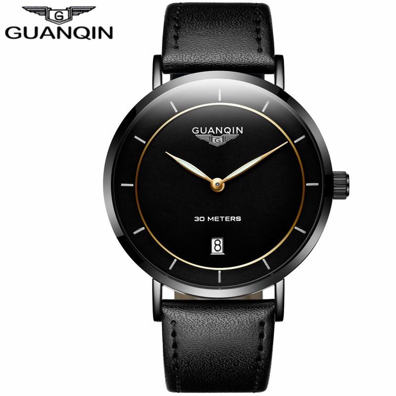 где купить relogio masculino GUANQIN Mens Watches Top Brand Luxury Simple Ultra Thin Luminous Clock Men Casual Leather Strap Quartz Watch по лучшей цене