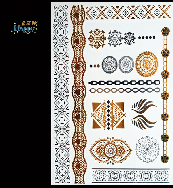 Free hot fashion shopping vine temporary metal body tattoo stickers art style gold sliver Flash tattoos