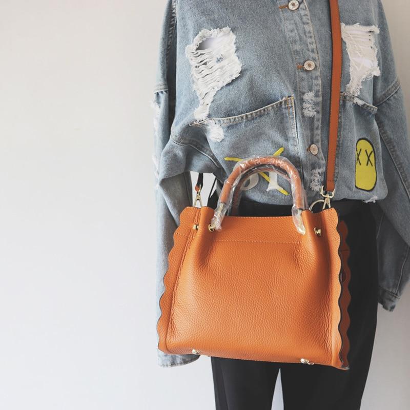 2018 Genuine Leather Handbags Designer Brand Shoulder Bags High Quality Crossbody Bags For Women Tote Bag Wave Women Handbag
