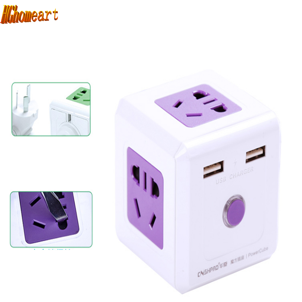 Multi Mode Square Cube Wiring Board Creative Outlet Plug Usb Receptacle Wireless Power Converter