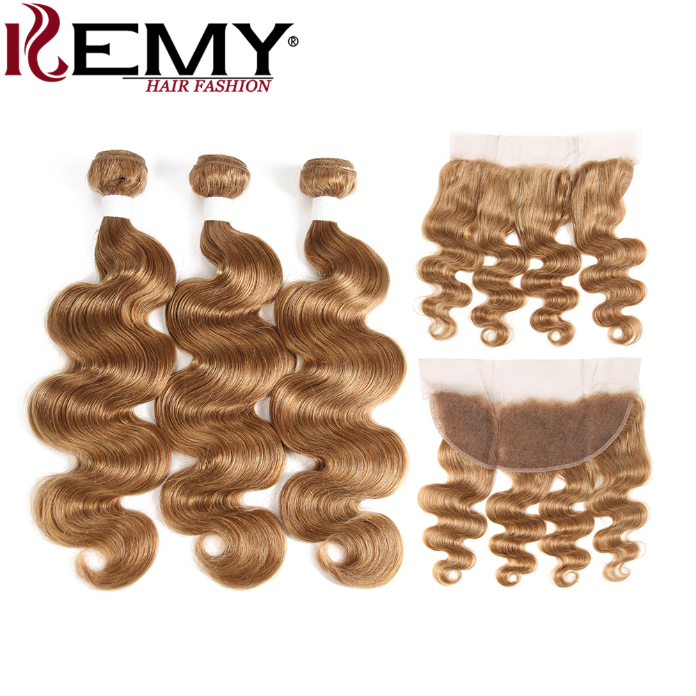 KEMY HAIR Pre-Colored 100% Human Hair Weaves Light Brown 27# 3Pcs Brazilian Body Wave 13 ...