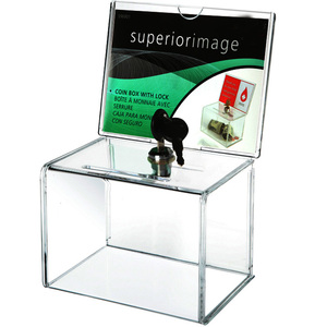 Image 2 - Counter Acrylic Donation Collection Box,Perspex Charity Fundraising Box with Keylock for Church,non profitable Group,Charity