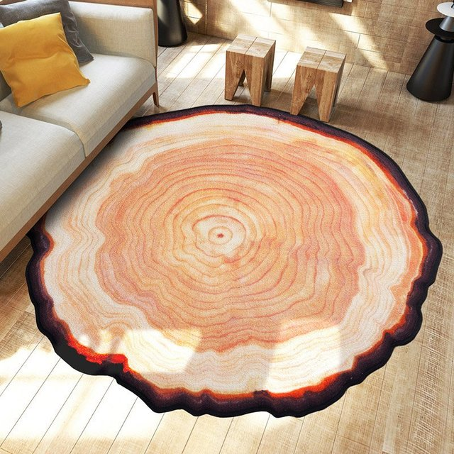 new arrival round carpet ancient tree ring mat parlor door floor