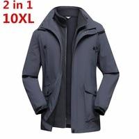 Большие размеры 10XL 9XL 8XL брендовая одежда Новый Стиль зимнее платье Для мужчин ветровка куртки и пальто 3 в 1 вкладыша и шляпа съемная