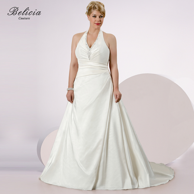 Belicia Couture Wedding Dress Couture V Neck Halter Ivory White Plus