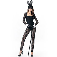 Black Transparent Floral Lace Adult Cosplay Costumes Halloween Rabbit Jumpsuit Bodysuit Lingerie Sexy Bunny Costume For Women(China)