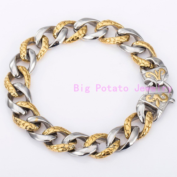 Amaze Design Silver Gold Cuban Casting Link Chain 13MM Stainless