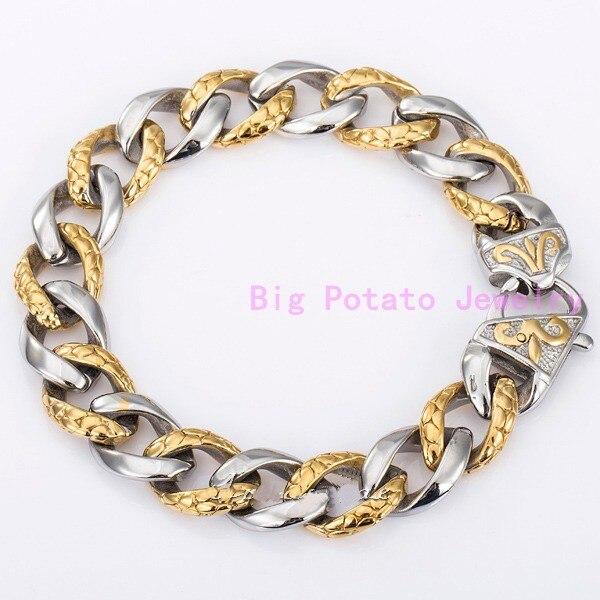 Amaze Design Silver Gold Cuban Casting Link Chain 13mm Stainless Steel Unique Bracelet Bangle Biker Boys