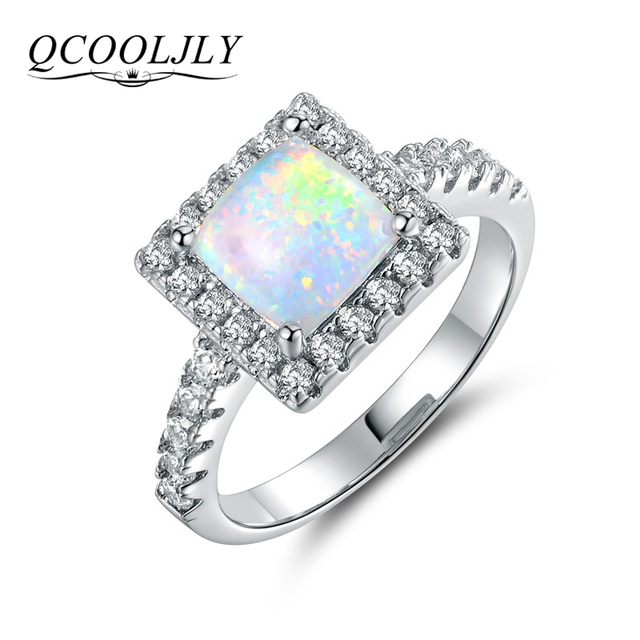 Qcooljly 2017 Fashion Square White Fire Opal Wedding Rings For Women Silver Color Cz Zircon Crystal
