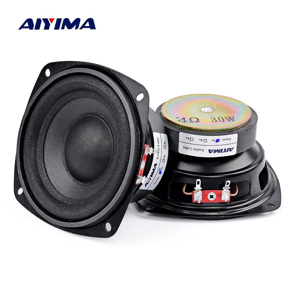 AIYIMA 2Pcs 4 inch 30W Audio Portable Woofer Speaker Mini Stereo 4 8Ohm loudspeaker Subwoofer Full