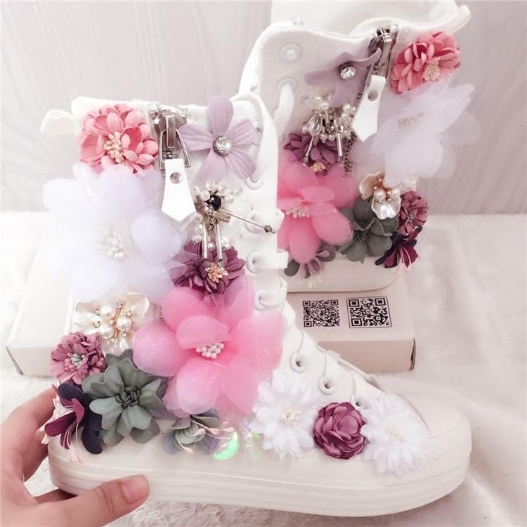 Sweet Flowers Women Canvas Shoes Flat Shoes High Top Manual 2019 New Side Zipper Rhinestone Flowers