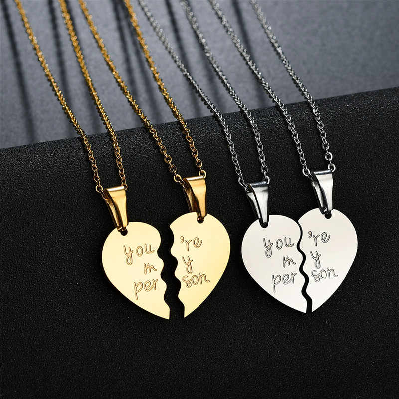 You are my person  Two Halves Heart Necklace Pendant Love Couple Jewelry For Lovers Girls Women Silver Gold Color Black Z4