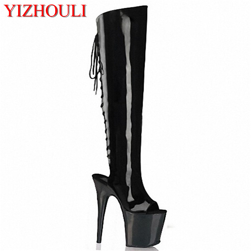 sexy womens summer boots 20cm high heel peep toe strappy thigh high stiletto boots Hot Sexy Night Club cool boots casual shoes 2018 new womens sexy super high heel peep toes night club shoes striped hollow out sheepskin leather sandals large size zapatos