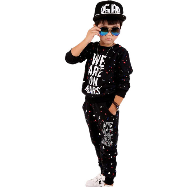 Baby Boys Clothing Set Print Letter Autumn Children Hip Hop Clothing Casual Conjunto Menino O-neck Pullover Pants Two-Piece Suit