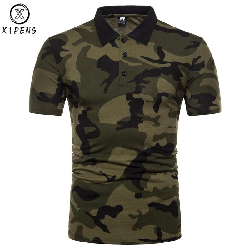 Hombres de la marca Polo camuflaje 2018 nuevos Mens Polo Camisas Casual Slim Fit Polo clásico hombre ejército verde Camisa polo Masculina