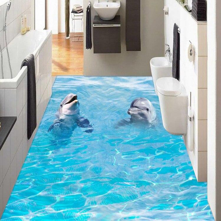 Außergewöhnlich Online Shop Professionelle HD 3D Boden Wandbild Design Badezimmerboden  Tapete Delphin Design Wasserdicht Pvc Tapete| Aliexpress Mobil