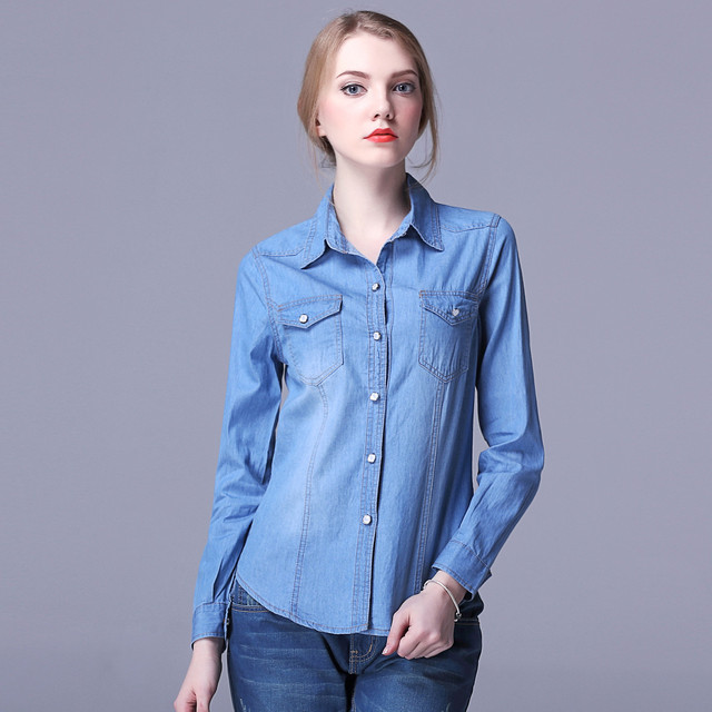 0aeaf0a774 Fashion 2017 Womens Chambray Top Denim Shirts and Blouses Ladies Long Sleeve  Snap Button Cotton Women Denim Shirts Blouses