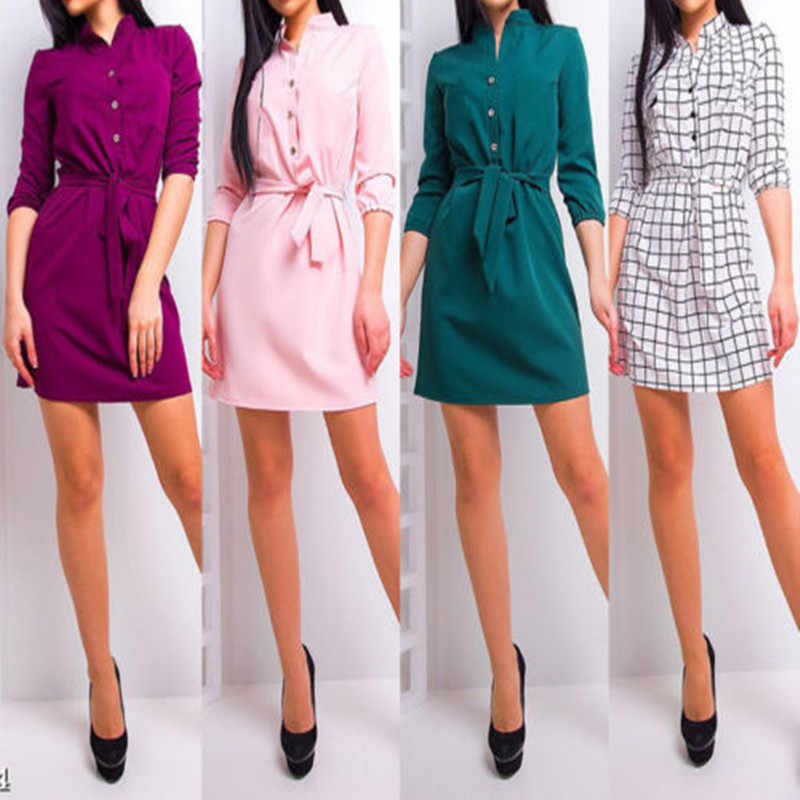 2018 New Autumn Stand Collar Long Sleeve Four Color Botton Irregular Big Size Solid Dress Women Fashion Tide