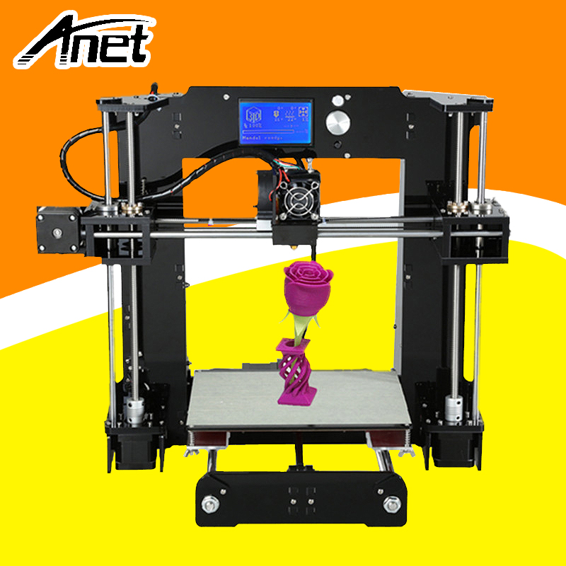 High Precision Anet A6 3D Printer Top Quality Prusa i3 Reprap 3D Printer Easy Assembly Diy Kit Large Print Size Hot Bed SD Card 2017 hot anet a3 full assembled desktop 3d printer precision reprap prusa i3 3d printer with 1roll filaments 16g sd card tool