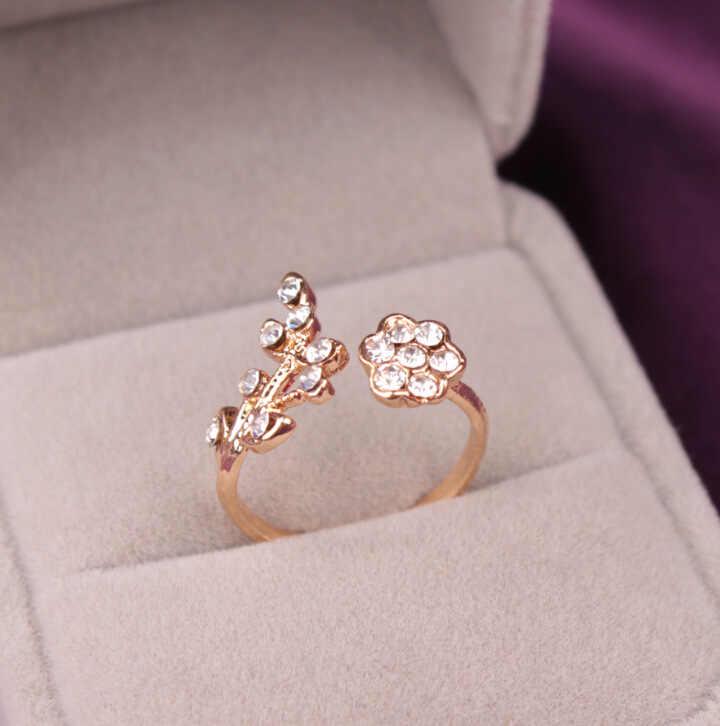 1 ชิ้นดอกไม้คริสตัลแหวนขายแหวนขายส่ง Bought ไม่เสียใจ