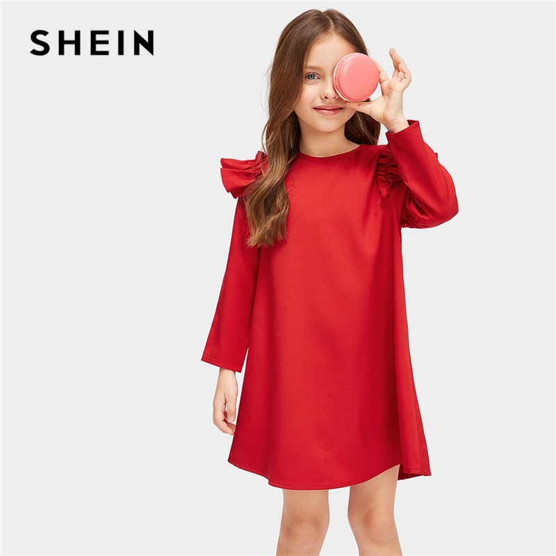 SHEIN Red Ruffle Christmas Tunic Mini Party Girls Dress 2019 Spring Korean Long Sleeve Elegant Kids Dresses For Girls Clothing retro style v neck long sleeve ethnic print self tie belt dress for women