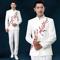 New men's Embroidered tunic costume Moderator suit Set Youth dress Male chorus stage dress Plus Size Men Suits Jacket + Pants