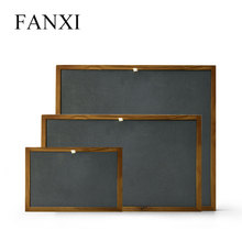 FANXI New Solid Wood Jewelry Display Stand with Microfiber Ring Pendant Bangle Tray Table Set 2 Color Showcase Exhibitor