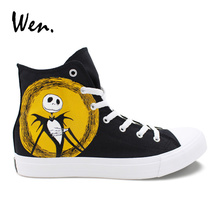 Wen Unisex Design Hand Painted Custom Shoes Nightmare Before Christmas High Top Canvas Shoes Black Lace Up Skateboard Sneakers
