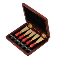 Beautiful Dark Red Nature Finish Solid Wood Bassoon Reed Case For 5 Reed