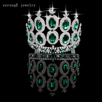 zerongE jewelry Green silver Royal Regal Sparkly Rhinestones Tiaras And Crowns Bridal Quinceanera Pageant Tiaras