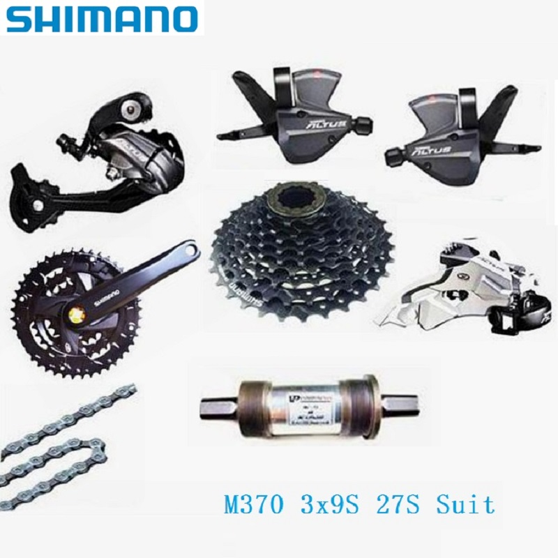 цена Wholesale Shimano A LTUS M370 3 x 9S 27 Speed Suit Crank Chain Wheel Shift Lever Bottom Bracket Front Rear Derailleur Free Wheel