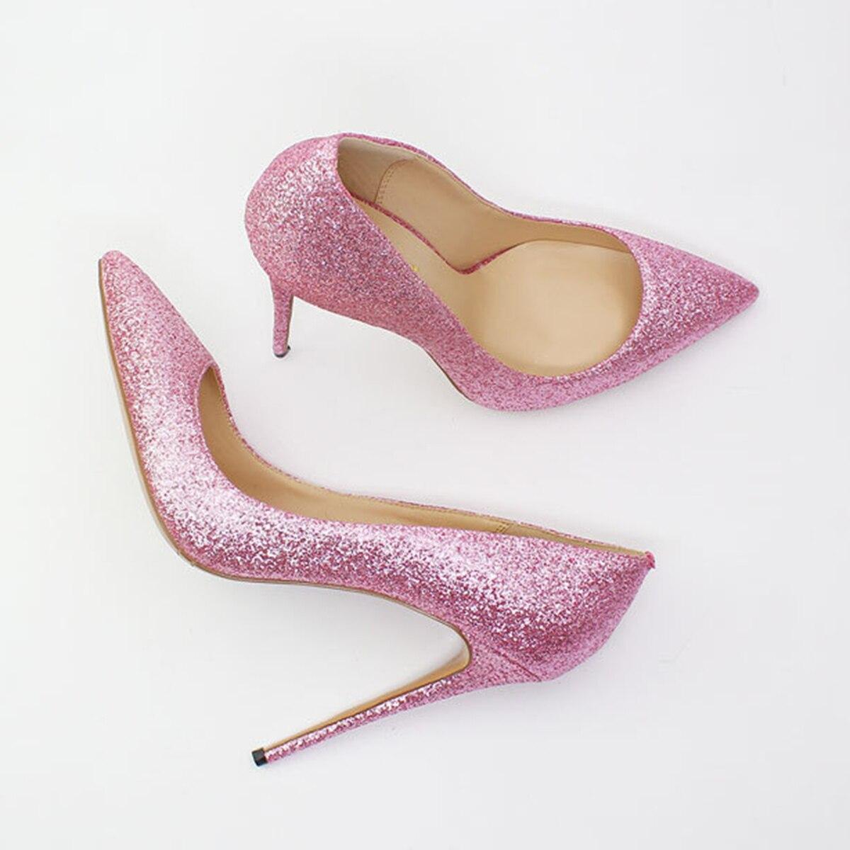 Tacón Alto Fiesta Plata Otoño Bombas pink Black Primavera Zapatos Rosa Negro De Punta Aiyoway Mujeres silver Puntiaguda Brillo 2019 Clubwear 67n0q7SvY