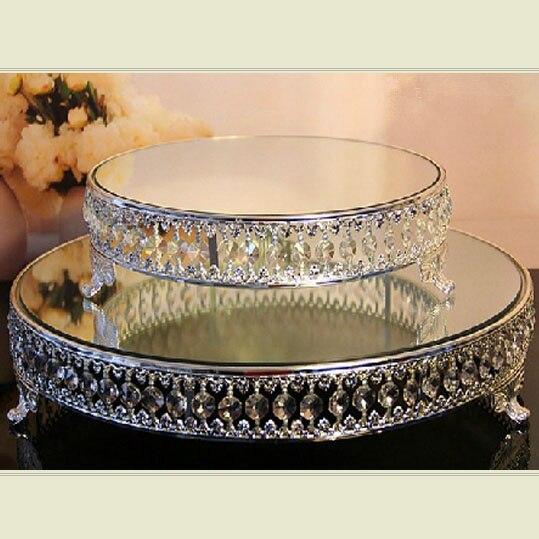 Support de gâteau de perles de cristal de 18 pouces support de dessert de surface de miroir plaqué argent