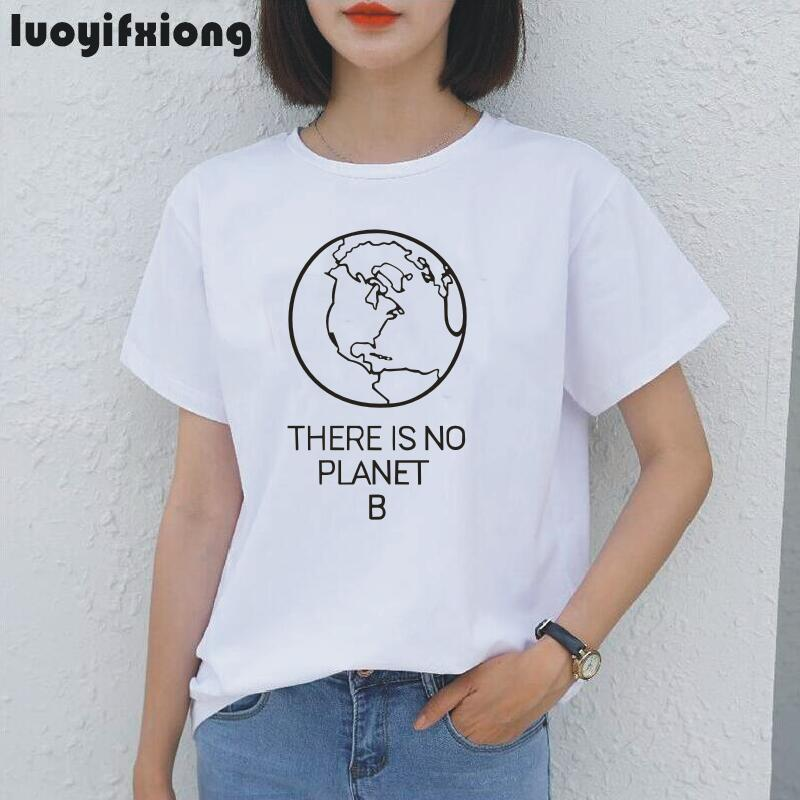 Earth Day Slogan <font><b>There</b></font> <font><b>Is</b></font> <font><b>No</b></font> <font><b>Planet</b></font> <font><b>B</b></font> Women <font><b>Tshirt</b></font> Shirt Summer Casual Tee Shirt Femme Hipster Environmental Saying Women Tops image