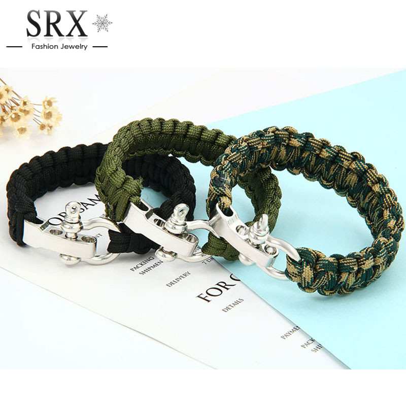 New Retail Paracord Survival Bracelet Men Camping Outdoor Woven Parachute Shackle Pin Buckle Bracelet Brazaletes Pulseras Hombre