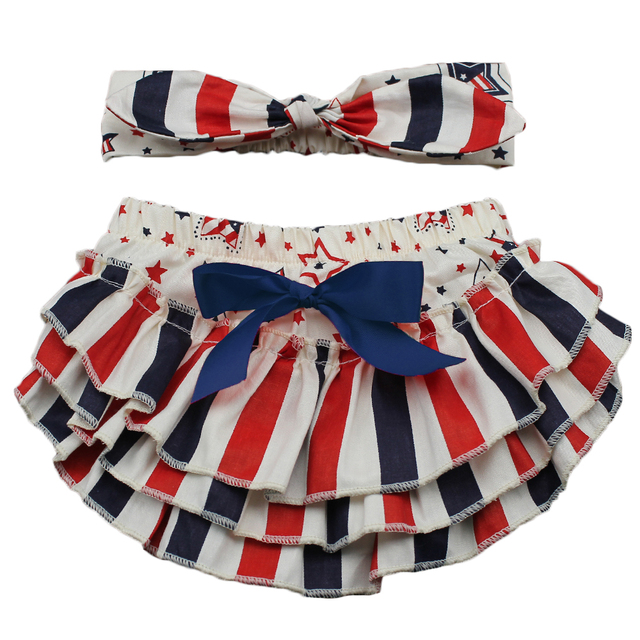 43b2bb8d856d 4th July baby girls ruffle bloomers headband sets infant toddler ...