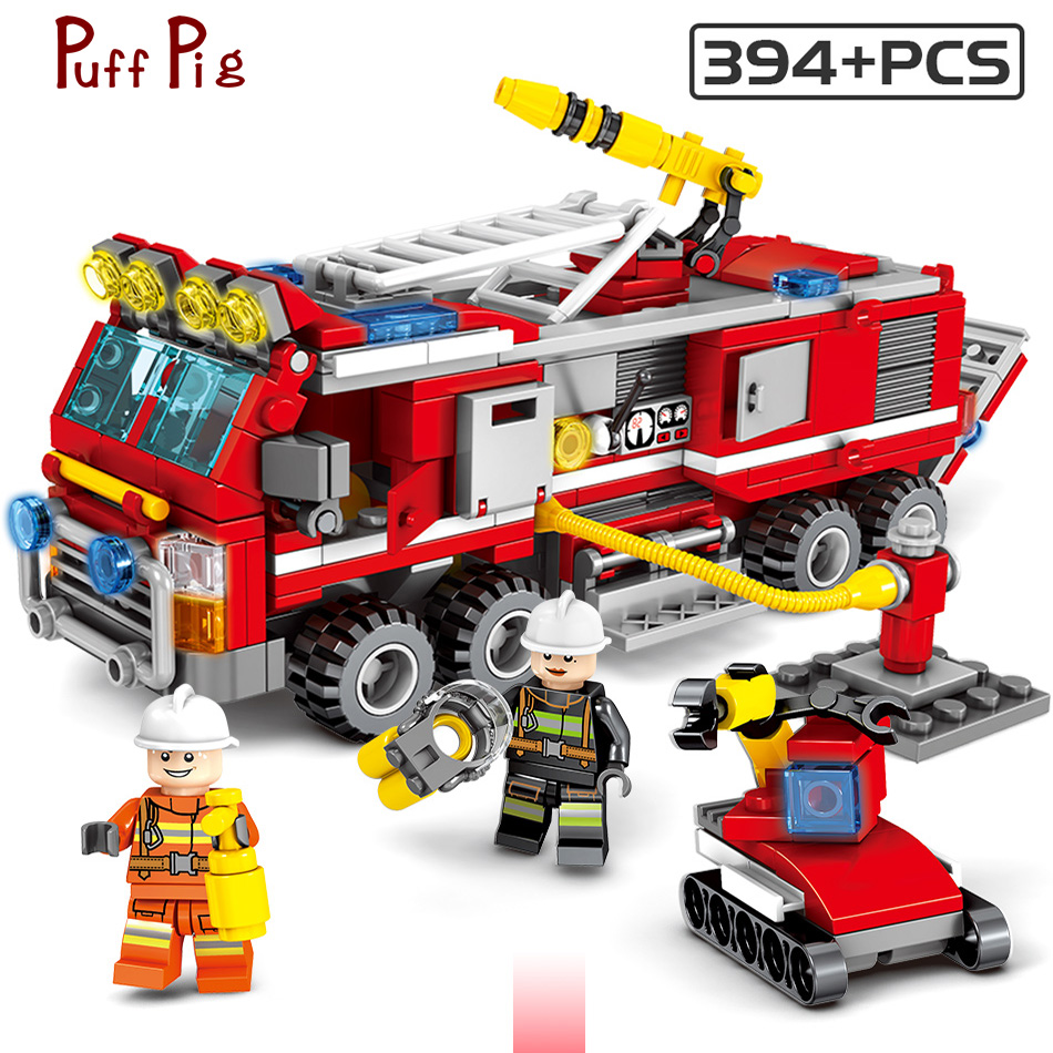 Blocks Huiqibao Toys 206pcs Fire Fighting Sprinkler Cars Fireman Figures Building Blocks Compatible City Trucks Vehicles Bricks Toys & Hobbies