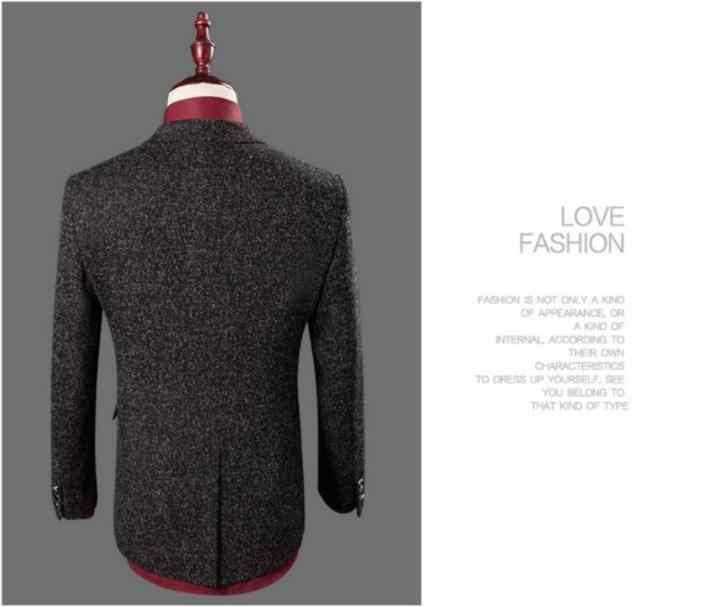 男性のスーツ 2018 英国スタイルのファッションシングルボタンウールのスーツの男性ウールの結婚式のスーツ (ジャケット + ベスト + パンツ) 衣装オム