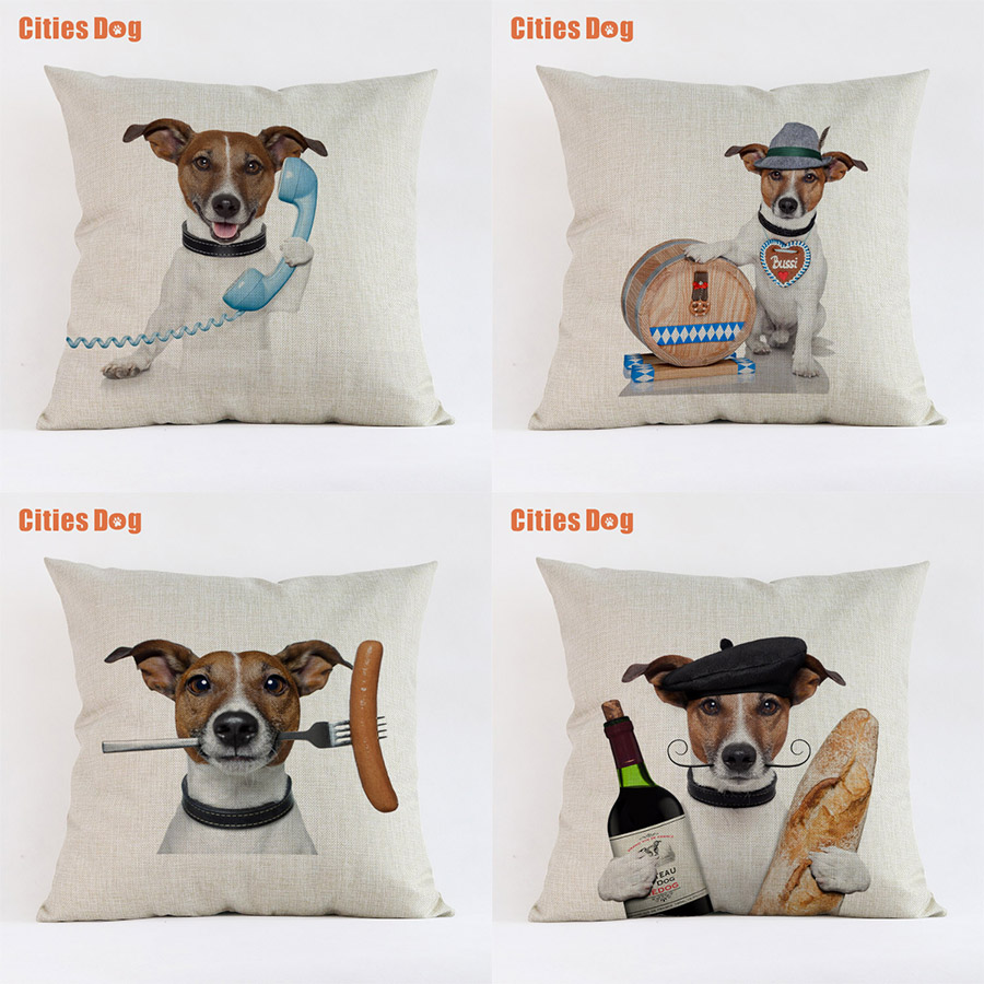 Jack Russell Terrier Dog Animal Cushion Sofa Cover Pillows Decorative 2018 New Year Decoration Gift Pillowcases Almofada Cojines