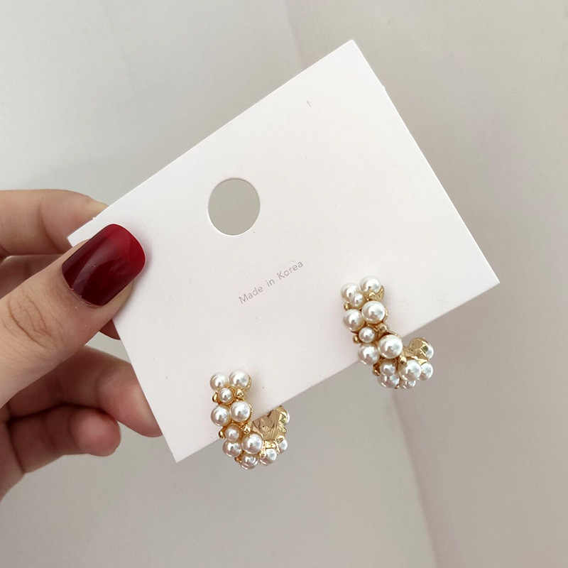 Korean hot fashion jewelry elegant full pearl round earrings wedding party small hoop Statement  earrings for woman gift