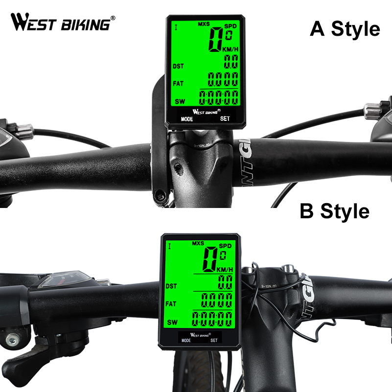 "Image 4 - WEST BIKING 2.8"" Large Screen Bicycle Computer Wireless Wired Bike Computer Rainproof Speedometer Odometer Stopwatch for Cycling-in Bicycle Computer from Sports & Entertainment"