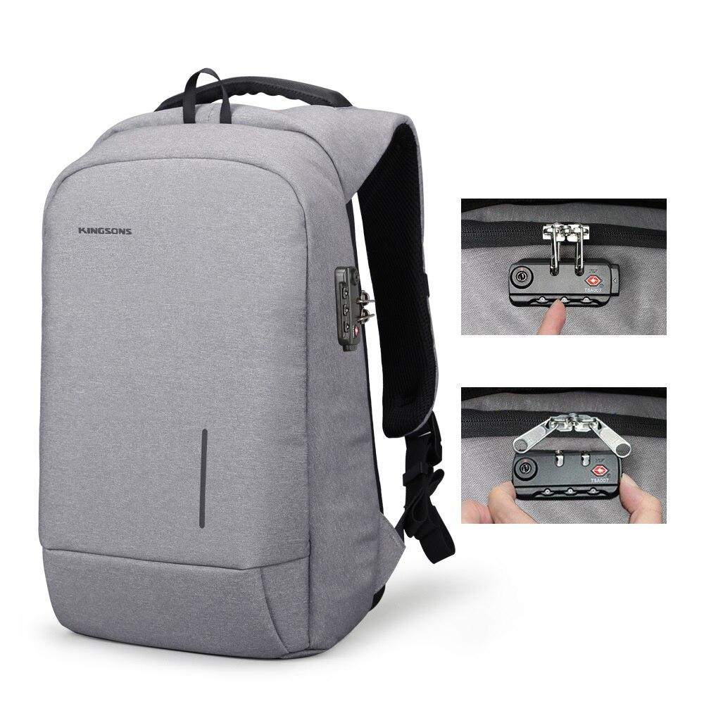 Kingsons 2018 Nova Escola Mochilas Saco de Bloqueio Anti-roubo Mochila Laptop Sacos de Telefone Otário 13''15'' Carregamento USB Mochilas Da Moda
