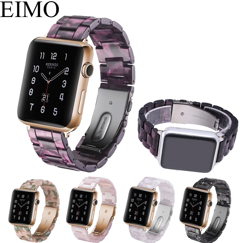 EIMO Resin strap for apple watch band 4 44mm 40mm stainless steel buckle bracelet iwatch series 3 2 1 42mm 38mm wrist watchband leather for apple watch band 38mm 42mm butterfly buckle strap iwatch series 4 3 2 1 watchband replacement accessories wrist belt