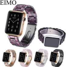 EIMO Resin strap for apple watch band 4 44mm 40mm stainless steel buckle bracelet iwatch series 3 2 1 42mm 38mm wrist watchband цена