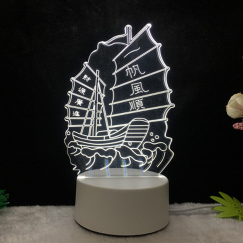 3D Small Night Light Acrylic LED Table Lamp Tower Moon Cartoon Animal Luminous Pattern Creative Gifts Bedroom Decoration BS