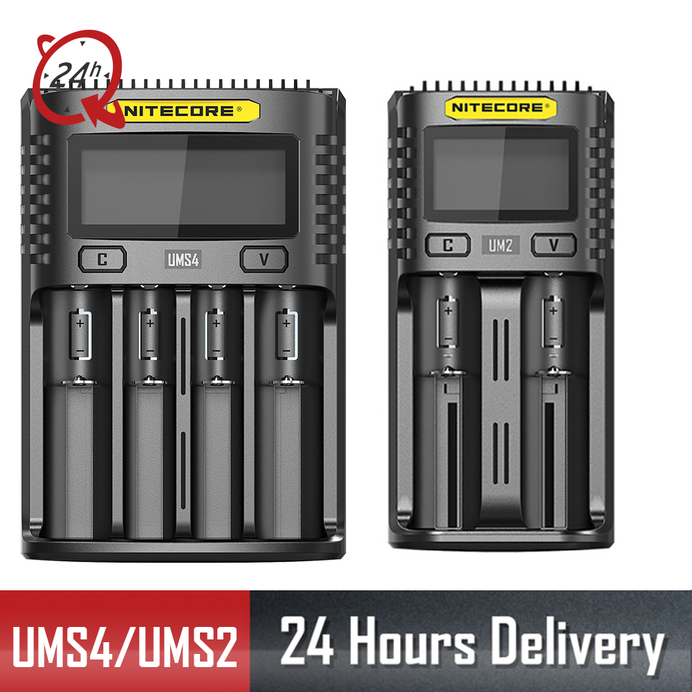 NITECORE UMS2 UMS4 UM2 UM4 SC4 Intelligent QC Charger For 18650 16340 Battery Charger