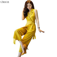 LXMSTH Chiffon Jumpsuits For Women Summer 2019 New Korean Fashion Sleeveless Jumpsuit Elegant Ladies Wide leg Long Pants Yellow